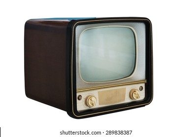 old vintage television set  on white background