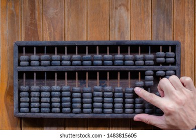 Old Vintage tone of Man's hands accounting with old abacus and hold electronic calculator. picture financial concept design.