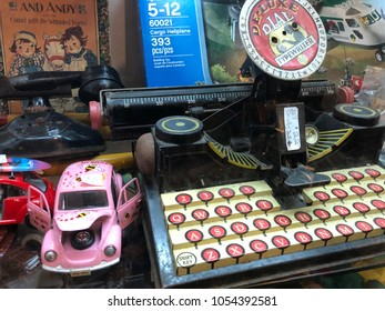 Old vintage toys in antique store Jacksonville, Florida USA. March 25, 2018