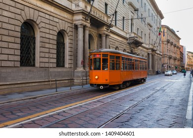 Old vintage tram in the city centre of the Milan, Lombardia, Italy. Famous tourist destination in South Europe
