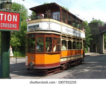 An old vintage tram at the National Tramway Museum at Crich - June 2006, Crich, Derbyshire, United Kingdom