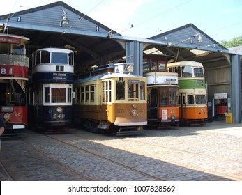 An old vintage tram at the National Tramway Museum at Crich - Crich, Derbyshire, United Kingdom - June 2006,