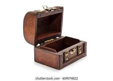 Old vintage treasure chest. Isolated on white background