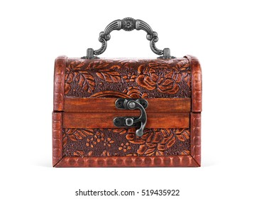 Old, vintage trunks, boxes on white background