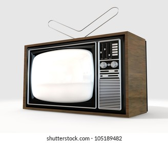An old vintage tube television with wood trim and an antenna on top