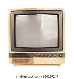 Old vintage TV isolate on white, retro technology.