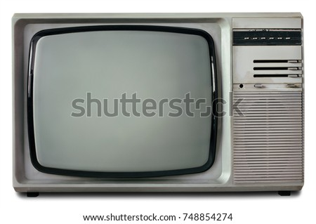 Old Vintage TV Isolated On White Background Retro Television 1990s