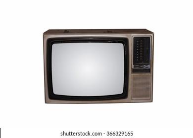 Old vintage TV on White background
