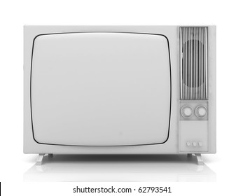 Old vintage TV over a white background. 3d rendered illustration.