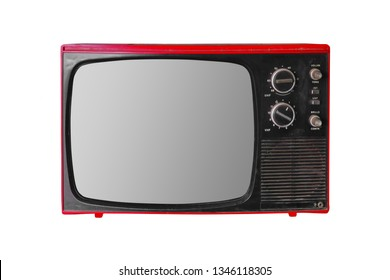 Old vintage tv screen isolated on white background.