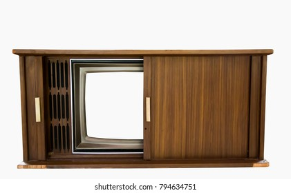 Old vintage TV in wood cabinets isolated on white background