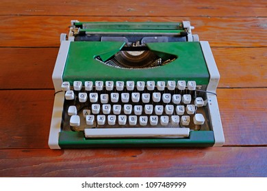Old vintage typewriter in  Humberstone saltpeter works factory, near Iquique, northern Chile, South America. This abandoned nitrate town was extremely important for the early economy
