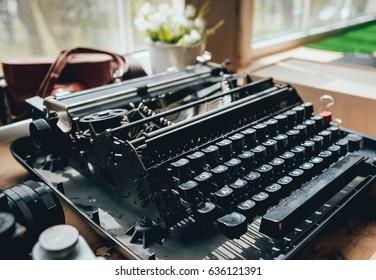 Old vintage typewriter. Keys clouseup. Background.