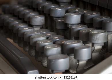 old vintage typewriter macro close up, details, keys, typebars
