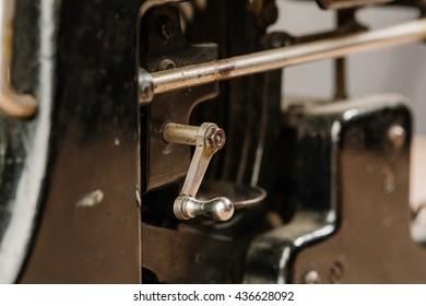 old vintage typewriter macro close up, details, machinery