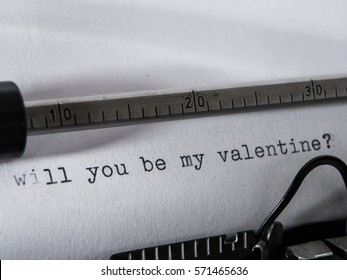 """Old vintage Typewriter typing """"will you be my valentine?"""""""