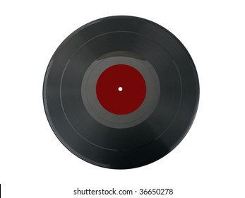 Old vintage vinil record isolated on white