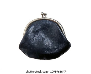 Old vintage wallet in black, isolated on white background.