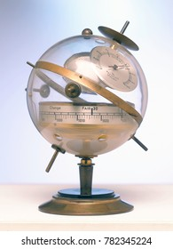 An old Vintage Weather Station Barometer Thermometer. made of bronze on a stand on a beautiful abstract background. Analog weather station.
