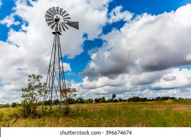 An Old Vintage Windmill Used to Pump Water in a Texas Field