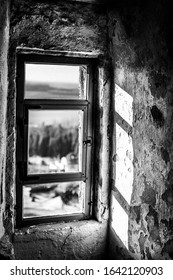 old vintage window in black white