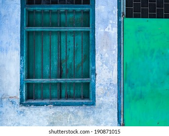 Old vintage window and door with grunge wall house