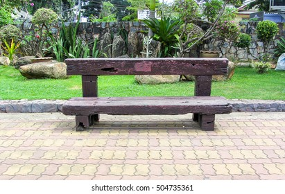 old vintage wood bench made from Railway sleeper