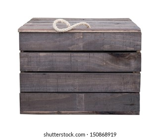 Old vintage wooden box crate isolated on white background with clipping path