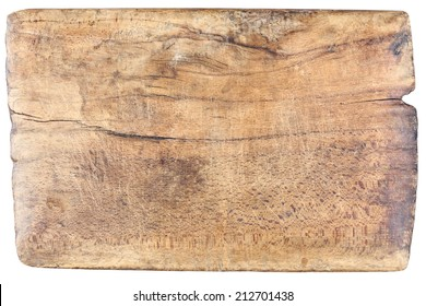 Old, vintage, wooden, chopping board isolated on white background