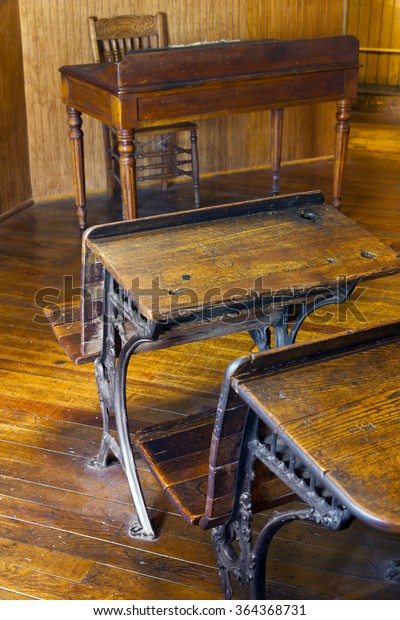 Old Vintage Wooden School Desks Classroom Stock Photo (Edit ...