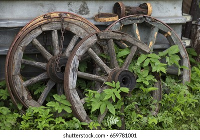 Old vintage wooden wheels in grass, rustic historical item.