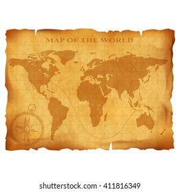 Old vintage world map. Ancient manuscript. Grunge paper texture. Stock illustration.
