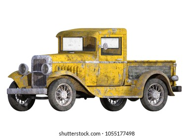 Old vintage yellow pickup truck isolated on white, 3d render