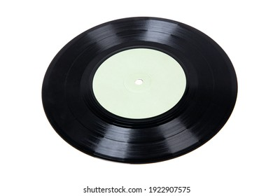 Old vinyl disc isolated on white. Old vintage vinyl record.