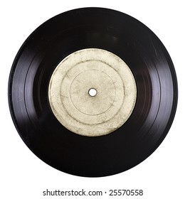 old vinyl record with blank label isolated on white