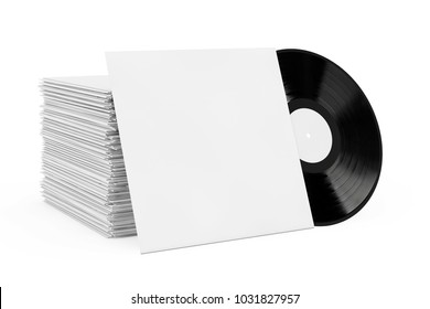 Old Vinyl Record Disk in Blank Paper Case with Free Space for Your Design near Stack of Record Disk on a white background. 3d Rendering