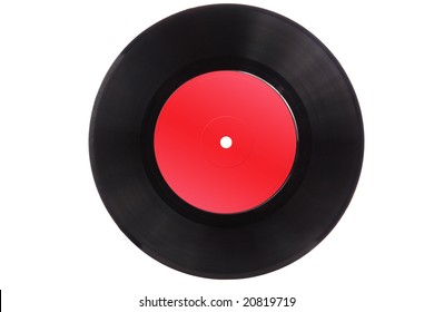 Old vinyl record isolated on white background