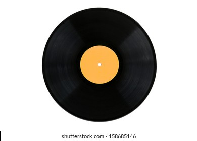 Old vinyl record on a white background