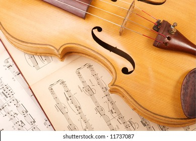 Old viola and vintage music sheet