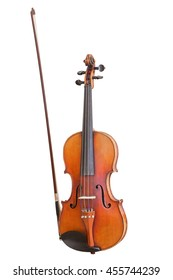 old violin with bow isolated on white background