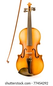 Old Violin with Bow isolated on white