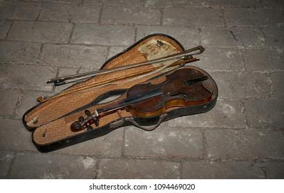 Old violin in the case
