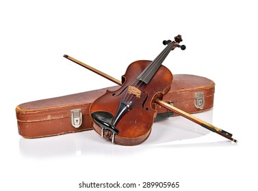 Old violin, case with bow on a white background isolated