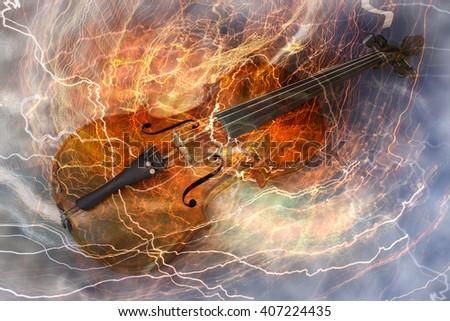 Old Violin Music Concept Lighting Effect Stock Photo (Edit