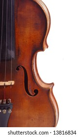 Old violine in Detail isolated on white background