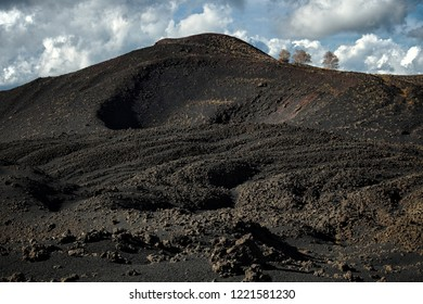 old volcanic crater of Nunziata Mount in Etna Park, Sicily