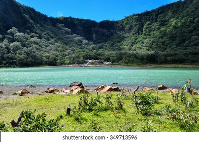 Old Volcano's Crater now Turquoise Lake, Alegria, El Salvador.