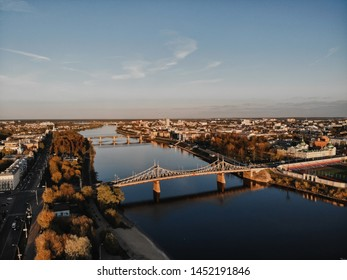 The old Volga bridge in Tver over the Volga at sunset. Top view