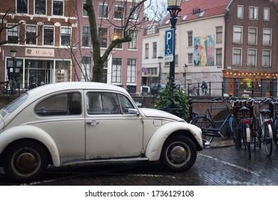 Old Volkswagen Beetle in Utrecht, Netherlands, december 2019
