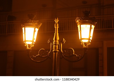 Old vontage lamps at nighttime